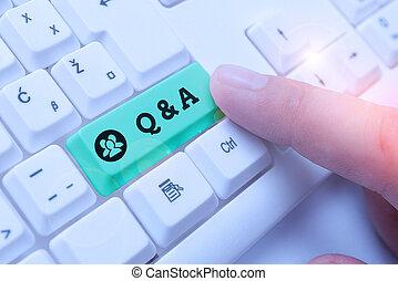geschaeftswelt, wesen, showcasing, q, definiert, fragte, merkzettel, fragen, a., foto, ausstellung, schreibende, answers.