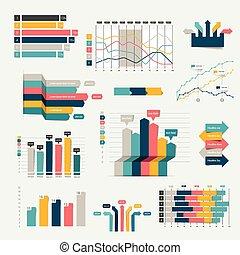 geschaeftswelt, wohnung, satz, infographics, charts., design, 3d, graph.