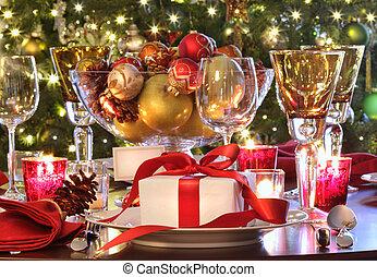 geschenk, feiertag, tisch, rotes , einstellung, ribboned