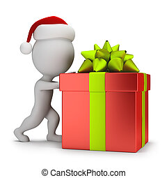 geschenk, leute, anschieben, -, santa, klein, 3d