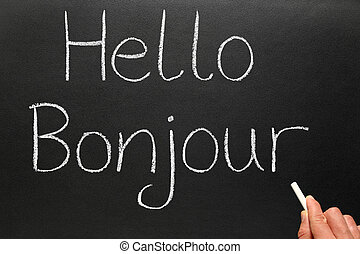 geschrieben, bonjour, blackboard., hallo, franzoesisch