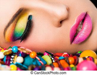 gesicht, lippen, frau, bunter , make-up