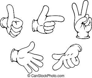 gesten, positiv, satz, hände