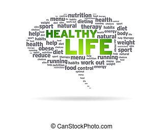 gesunde, -, leben, sprechblase