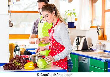 gesunde, paar, kochen, inländisch, lebensmittel, kueche