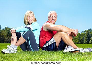 gesunde, turnhalle, lifestyle., fitness