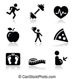 gesundheit, ikone, schwarz, sauber, fitness