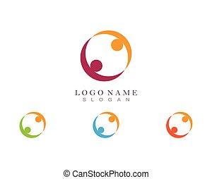 gesundheit, schablone, gemeinschaft, leute, sorgfalt, erfolg, heiligenbilder, leben, logo