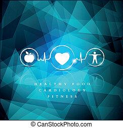 Gesundheits-Icons auf einem hellblauen geometrischen Hintergrund.