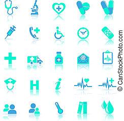 Gesundheits-Ikonen blau mit Reflektion.