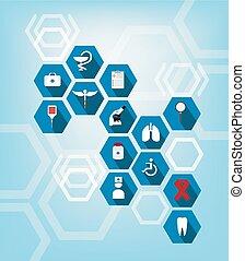 Gesundheitsfürsorge und medizinische Ikone.