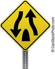 Geteiltes Straßenschild