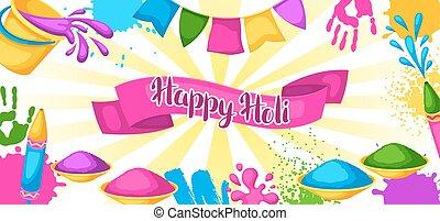 gewehre, blots, holi, bunte, banner., flecke, eimer, abbildung, wasser, farbe, flaggen, glücklich