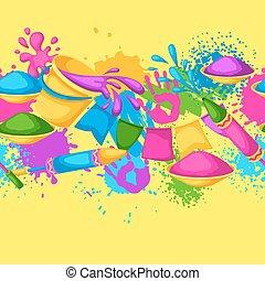 gewehre, blots, holi, bunte, border., flecke, eimer, seamless, abbildung, wasser, farbe, flaggen, glücklich
