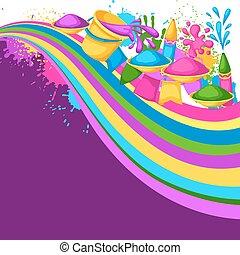 gewehre, blots, holi, bunte, flecke, eimer, abbildung, wasser, hintergrund., farbe, flaggen, glücklich