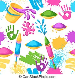 gewehre, blots, holi, bunte, flecke, eimer, pattern., seamless, abbildung, wasser, farbe, flaggen, glücklich