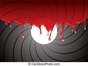 Gewehrfass in Blut
