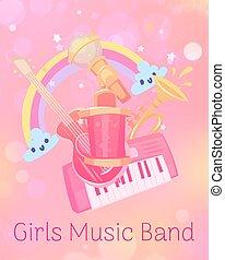 girs, kinder, synthesizer, vektor, kindergarten, regenbogen, spielzeug, spielzeuge, reizend, musikalisches, kaufmannsladen, gitarre, illustration., kinder, mädchenhaft, rosa, trompete, games., hintergrund.