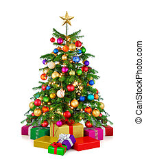 Glänzender Weihnachtsbaum mit Geschenkdosen.