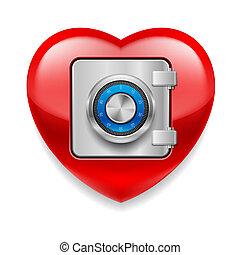 Glänzendes rotes Herz als Safe