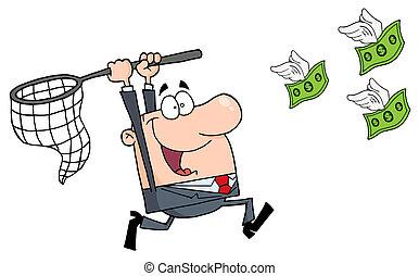 glücklich, geschäftsmann, geld, jagen