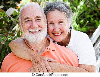 glücklich, gesunde, paar, älter