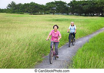 Glückliche Asiaten, ein paar Biker im Park