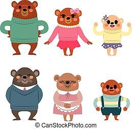 Glückliche Bärenfamilie.