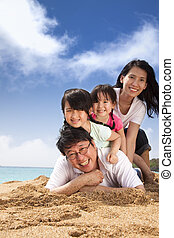 Glückliche Familie am Strand.