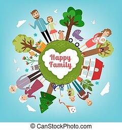 Glückliche Familie auf der ganzen Erde