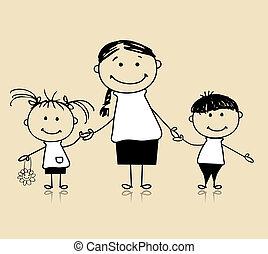 Glückliche Familie, die zusammen lächelt, Mutter und Kinder, zeichnen Skizze