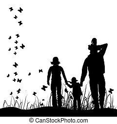 Glückliche Familie geht über die Natur