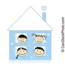 Glückliche Familie im eigenen Haus, die zusammen lächelt, Zeichnung.