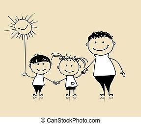 Glückliche Familie lächelnd, Vater und Kinder, zeichnen Skizze