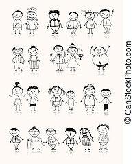 Glückliche große Familie lächelt zusammen, zeichnet Skizze