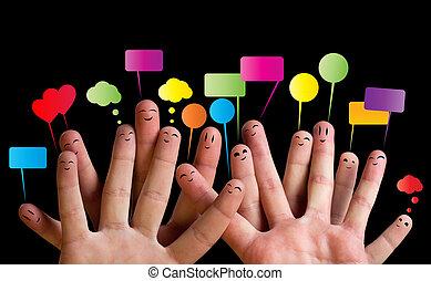 Glückliche Gruppe von Finger Smileys 2