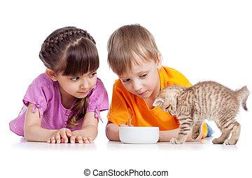 Glückliche Kinder, die Kätzchen füttern.
