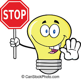 Glühbirne hält ein Stoppschild