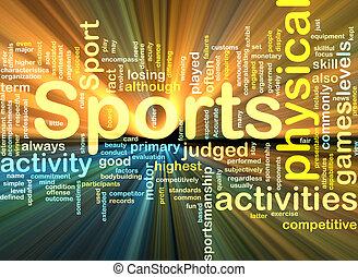 glühen, hintergrund, sport tätigkeiten, begriff
