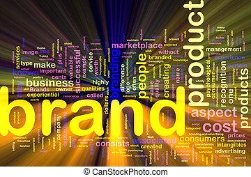 glühen, marke, hintergrund, marketing, begriff