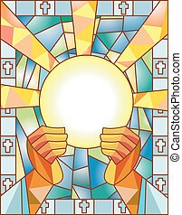 glas, befleckt, kommunion
