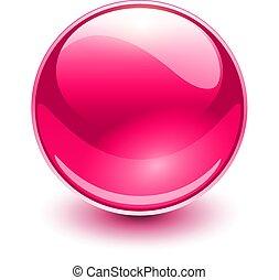 glas, rosa, kugelförmig