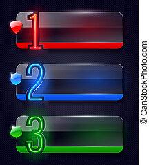 Glasbanner mit Neonzahlen