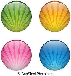 Glasknopf mit farbenfrohen Streifen