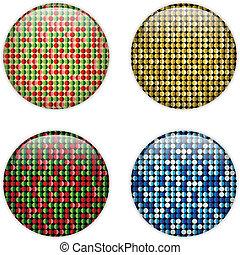 Glaskreis-Taste farbige Punkte.