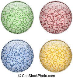 Glasscherbenknopf farbenfrohe Blasen