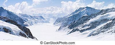 gletscher, schweiz, jungfrau, groß, alps, aletsch
