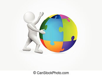 global, person, puxxle, logo, kleine welt, 3d