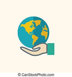 Globale flache Ikone