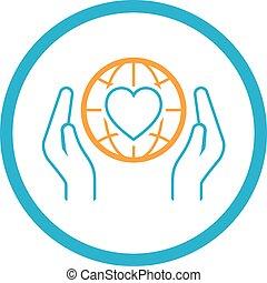 Globale Gesundheitshilfe-Ikone. Flat Design.